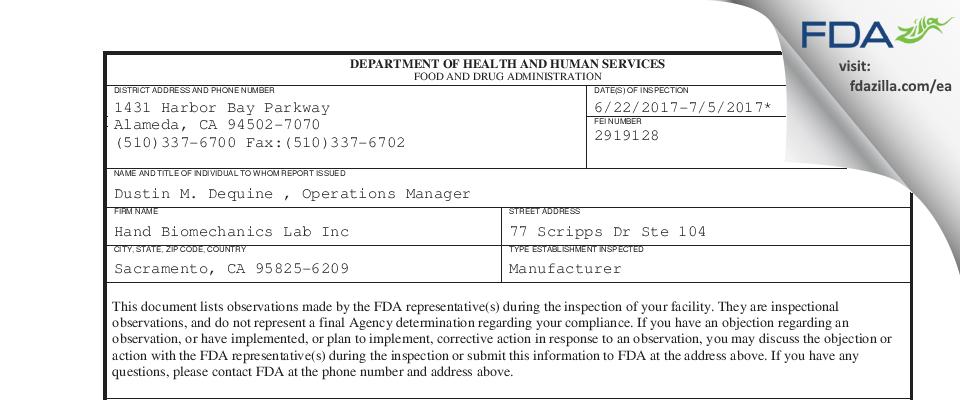 Hand Biomechanics Lab FDA inspection 483 Jul 2017