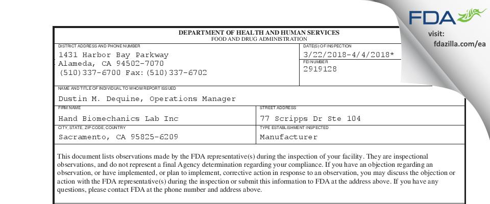 Hand Biomechanics Lab FDA inspection 483 Apr 2018