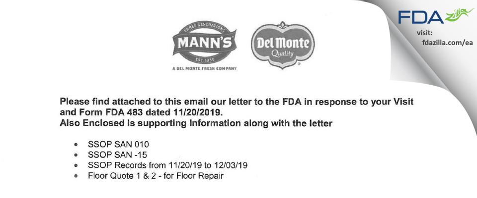 Mann Packing. FDA inspection 483 Nov 2019