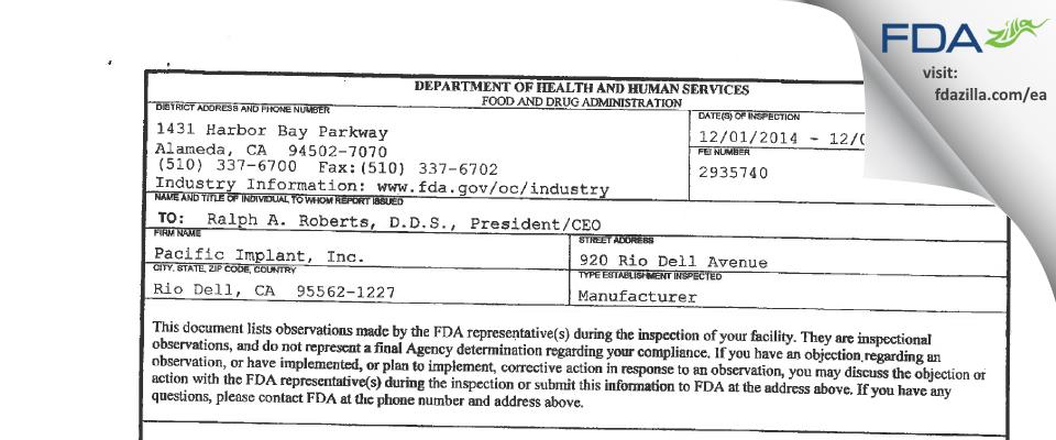 Pacific Implant FDA inspection 483 Dec 2014