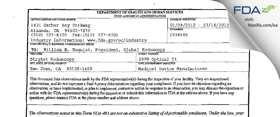 Stryker FDA inspection 483 Mar 2012