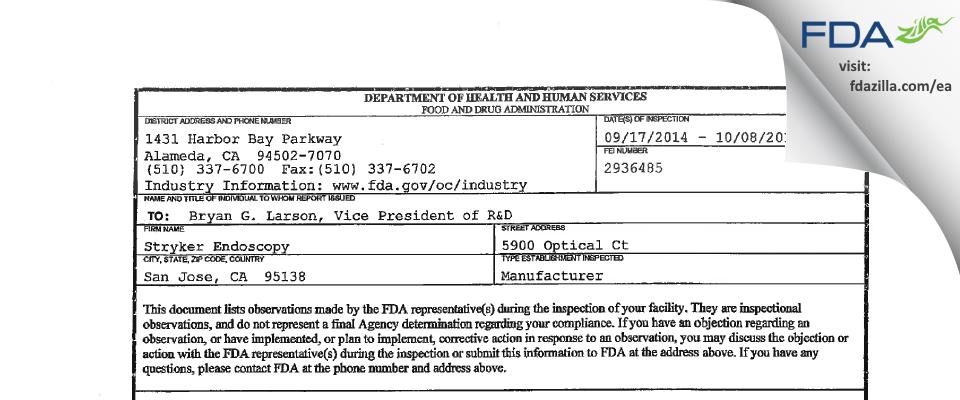 Stryker FDA inspection 483 Oct 2014