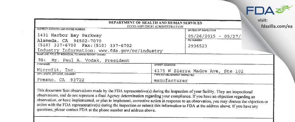 Microfit FDA inspection 483 May 2015