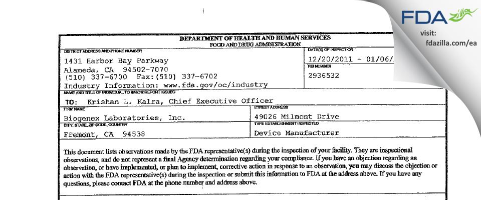 Biogenex Labs FDA inspection 483 Jan 2012