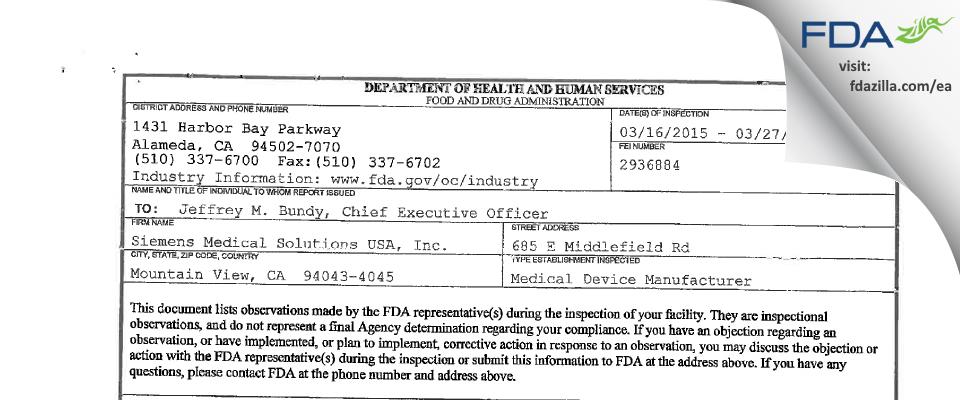 Siemens Medical Solutions USA FDA inspection 483 Mar 2015