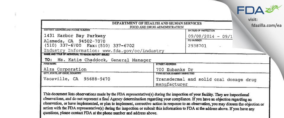 Alza FDA inspection 483 Sep 2014