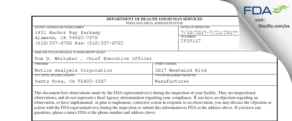 Motion Analysis FDA inspection 483 Jul 2017
