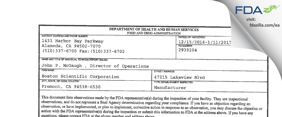 Boston Scientific FDA inspection 483 Jan 2017