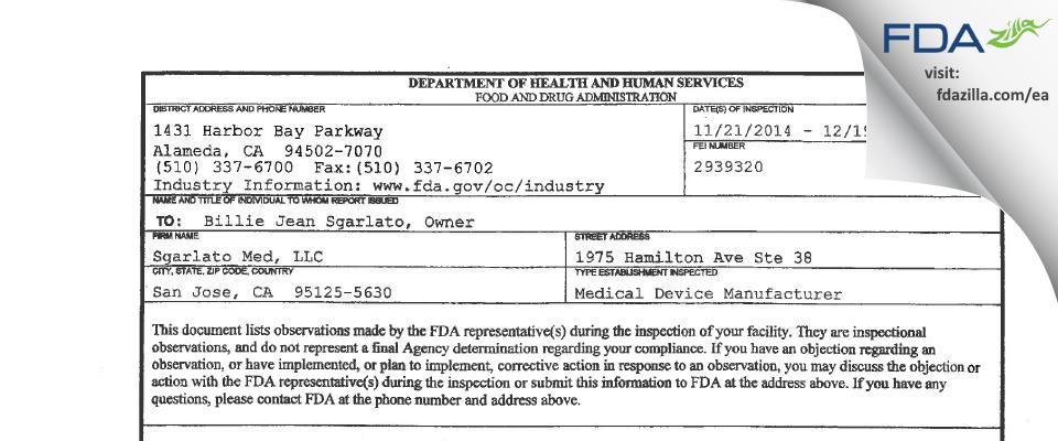 Sgarlato Med FDA inspection 483 Dec 2014