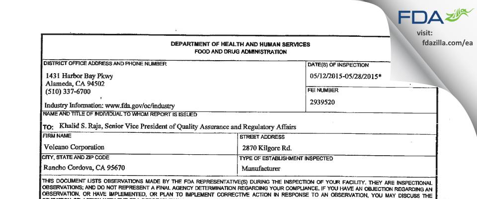 Volcano FDA inspection 483 May 2015