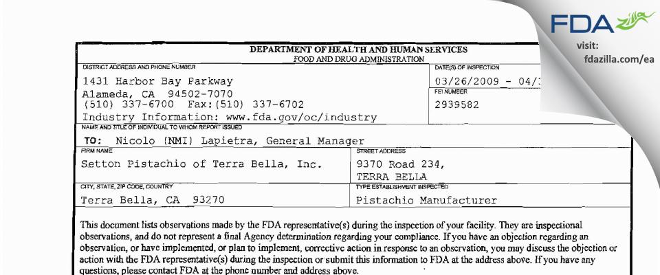 Setton Pistachio of Terra Bella FDA inspection 483 Apr 2009