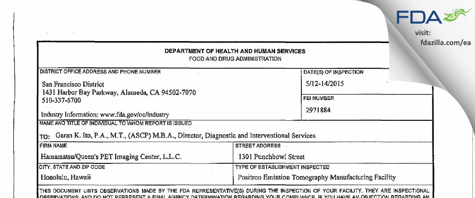 Queen's Medical Center FDA inspection 483 May 2018