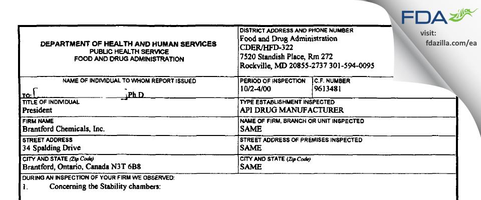 Apotex Pharmachem FDA inspection 483 Oct 2000