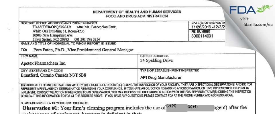 Apotex Pharmachem FDA inspection 483 Dec 2016