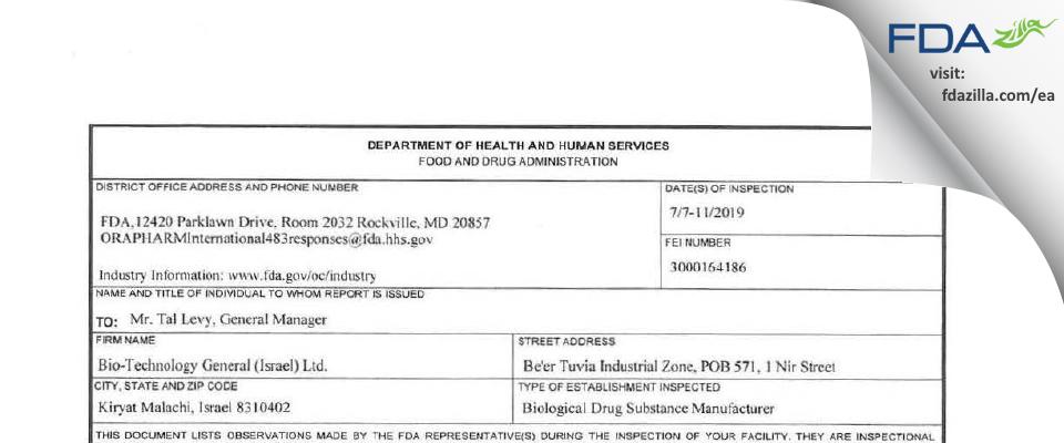 Bio-Technology General (Israel) FDA inspection 483 Jul 2019