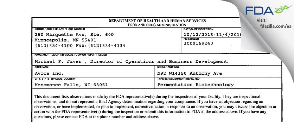 Avoca FDA inspection 483 Nov 2016