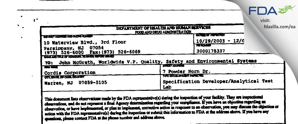 Cordis FDA inspection 483 Dec 2003