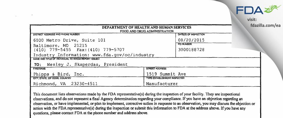 Phipps & Bird FDA inspection 483 Aug 2015