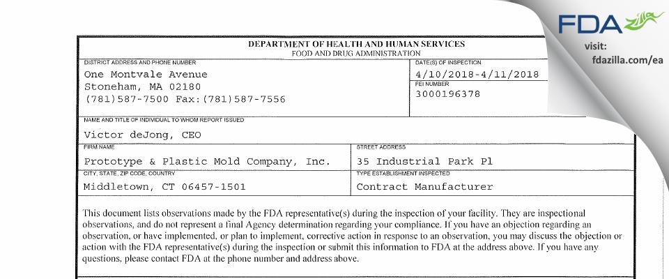 Prototype & Plastic Mold Company FDA inspection 483 Apr 2018
