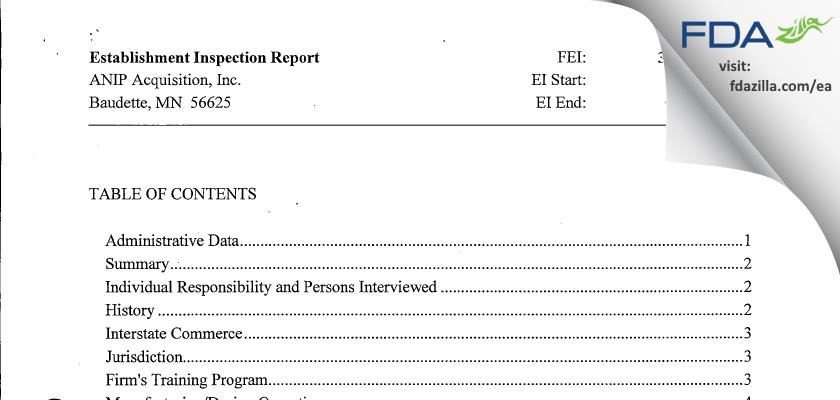 ANIP Acquisition FDA inspection 483 Sep 2011