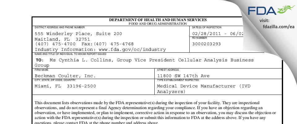 Beckman Coulter FDA inspection 483 Jun 2011