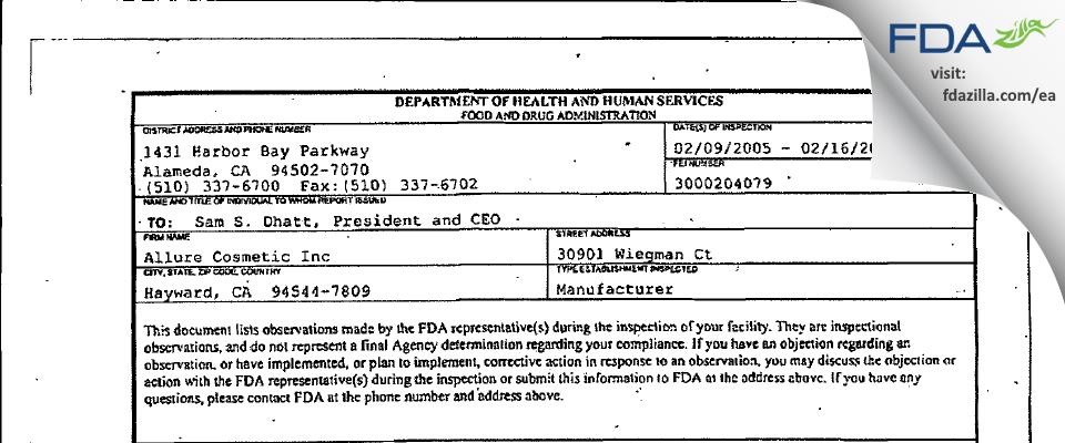 Allure Labs FDA inspection 483 Feb 2005
