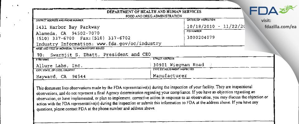 Allure Labs FDA inspection 483 Nov 2010