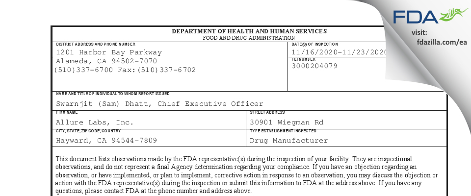 Allure Labs FDA inspection 483 Nov 2020