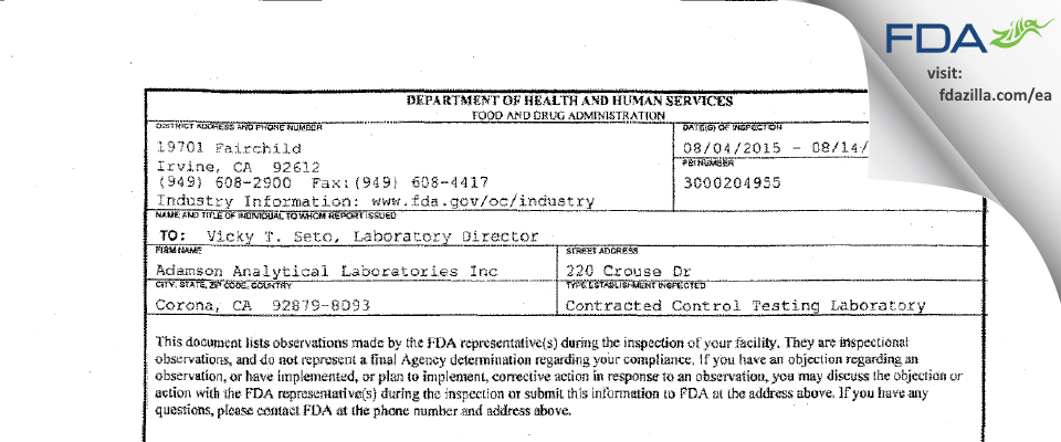 Adamson Analytical Labs FDA inspection 483 Aug 2015