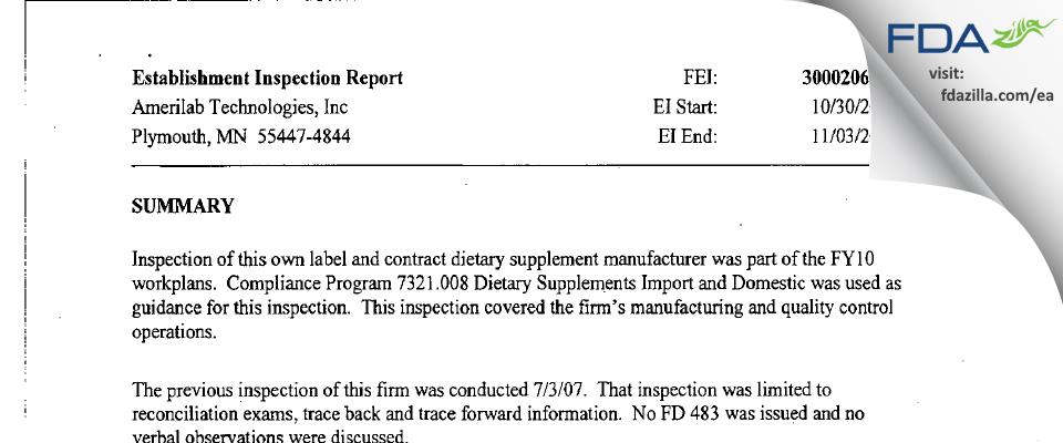 Amerilab Technologies FDA inspection 483 Nov 2009