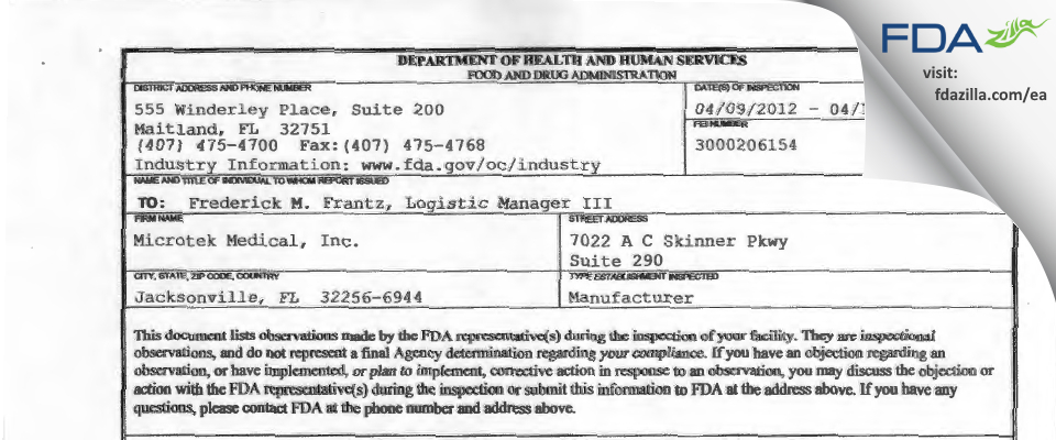 Microtek Medical (dba) Ecolab FDA inspection 483 Apr 2012