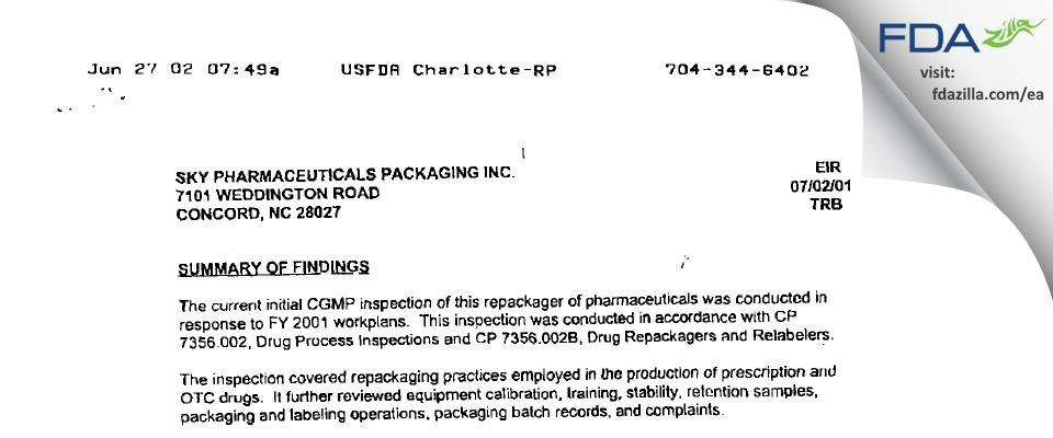 McKesson Packaging Services FDA inspection 483 Jul 2001