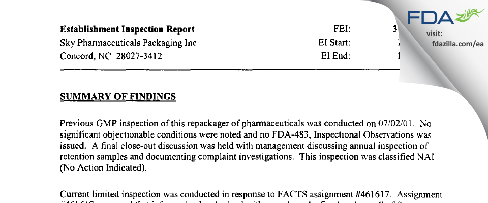 McKesson Packaging Services FDA inspection 483 Oct 2003