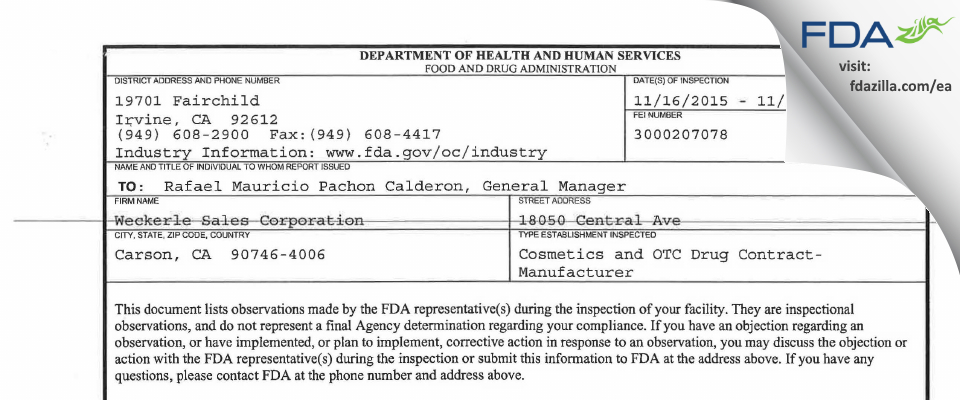 Weckerle Sales FDA inspection 483 Nov 2015