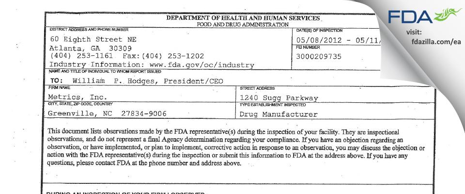 Mayne Pharma FDA inspection 483 May 2012