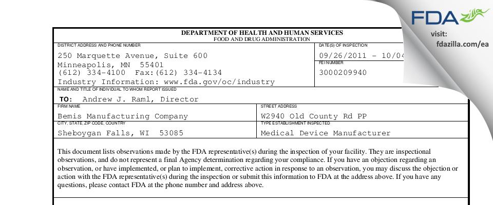 Bemis Manufacturing FDA inspection 483 Oct 2011