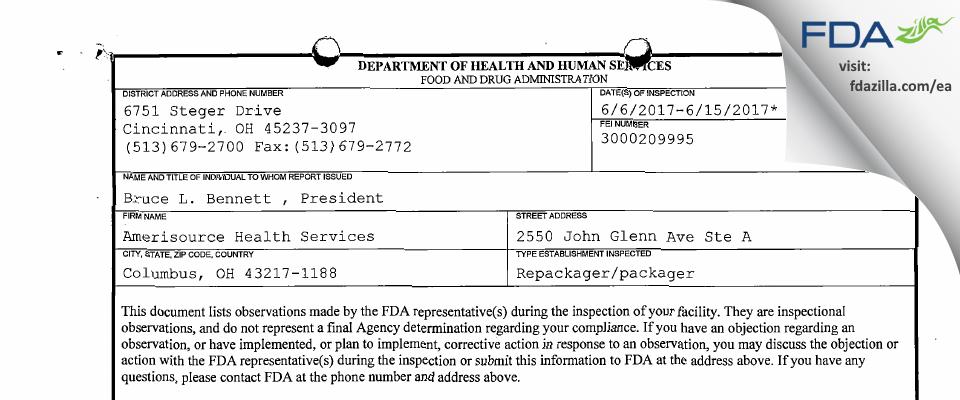 AMERICAN HEALTH PACKAGING FDA inspection 483 Jun 2017