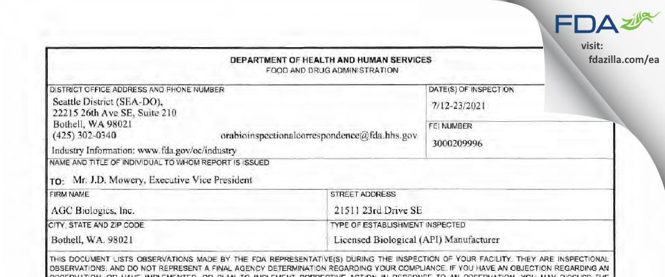 AGC Biologics FDA inspection 483 Jul 2021