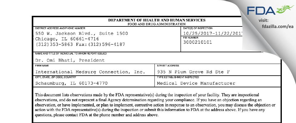 International Medsurg Connection FDA inspection 483 Nov 2017