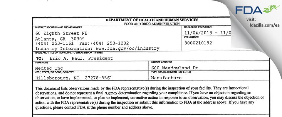Medtec FDA inspection 483 Nov 2013