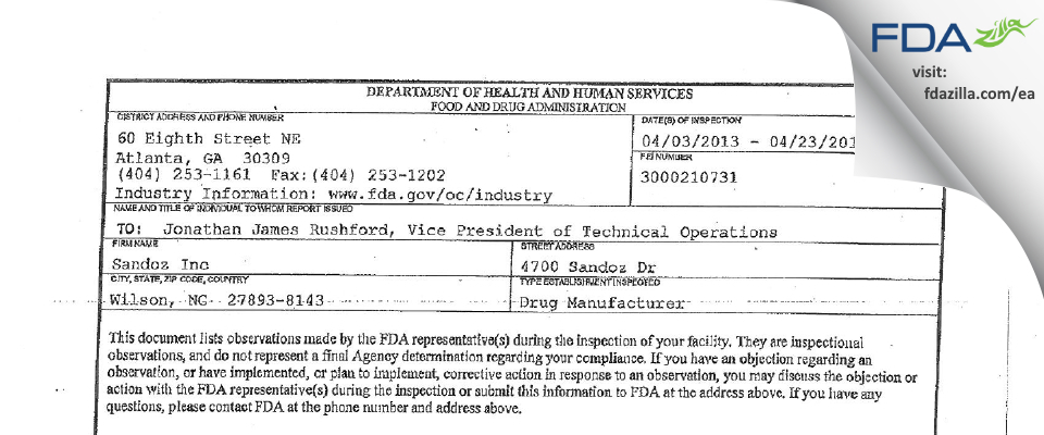 Eon Labs FDA inspection 483 Apr 2013
