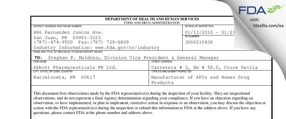 Knoll FDA inspection 483 Jan 2010