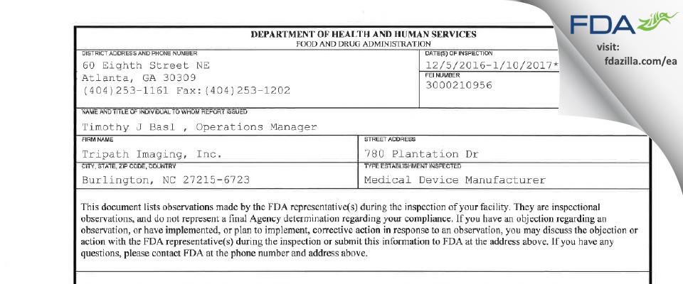 Tripath Imaging FDA inspection 483 Jan 2017