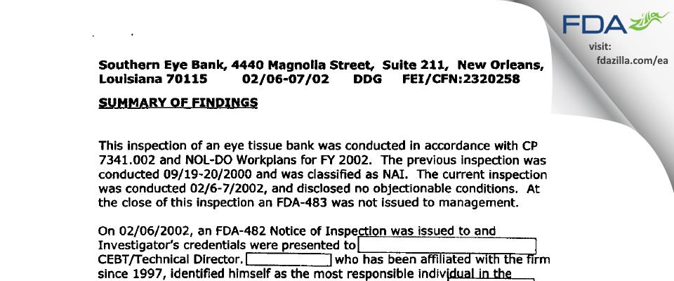 Southern Eye Bank FDA inspection 483 Feb 2002