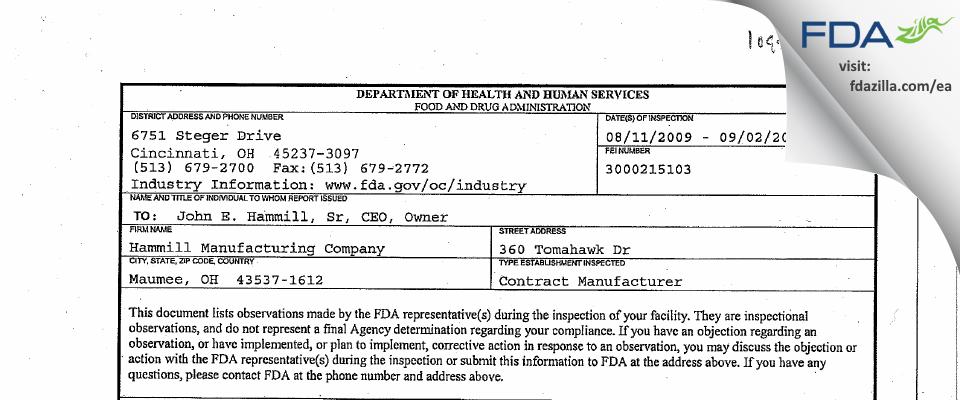 Hammill Manufacturing Company FDA inspection 483 Sep 2009