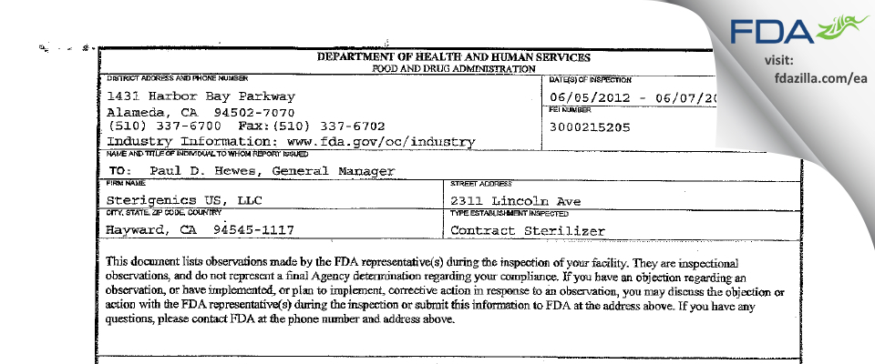 Sterigenics US FDA inspection 483 Jun 2012