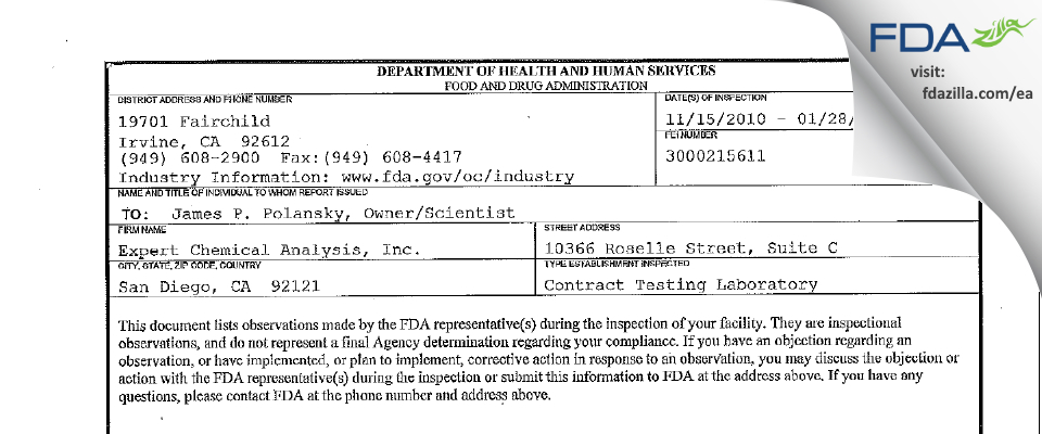 Expert Chemical Analysis FDA inspection 483 Jan 2011