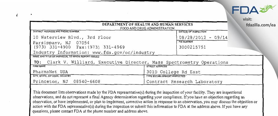 inVentiv Health Clinical Lab FDA inspection 483 Sep 2012