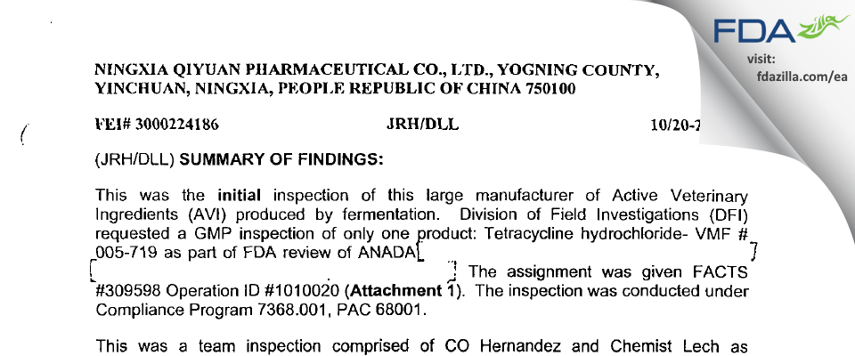 Ningxia Qiyuan Pharmaceutical FDA inspection 483 Oct 2003