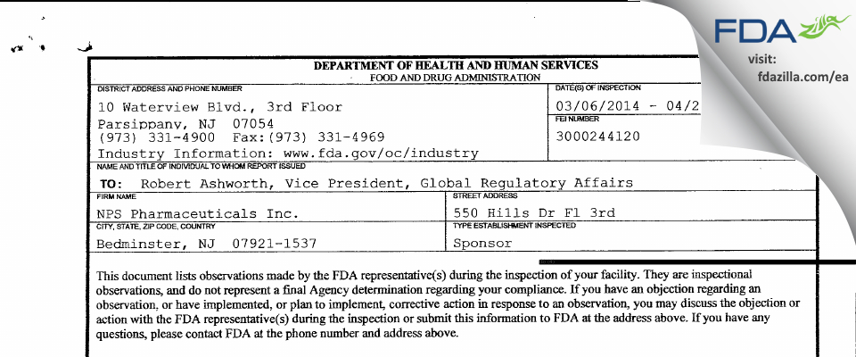 NPS Pharmaceuticals FDA inspection 483 Apr 2014